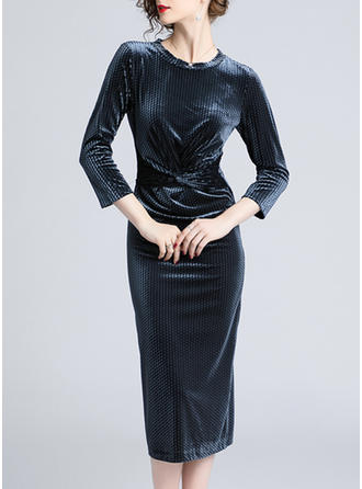Solidny Okrągły Dekolt Midi Sukienka Dopasowana