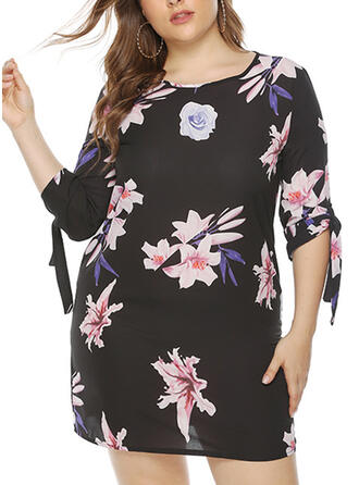 Print/Floral 1/2 Sleeves Shift Above Knee Casual/Plus Size Dresses