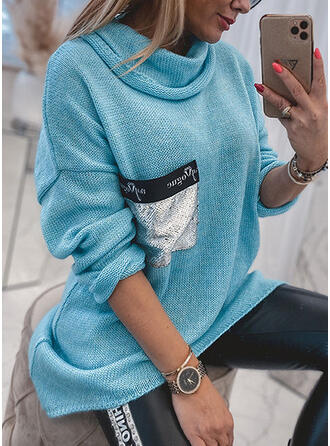 Print Sequins Hooded Casual Asymmetrical Sweaters