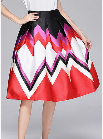 Polyester Cotton Geometric Print Knee Length A-Line Skirts