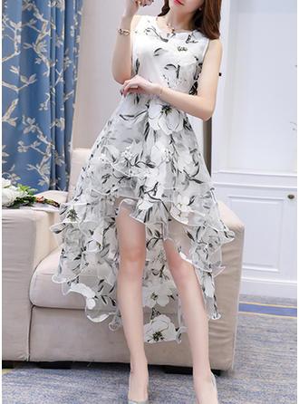 Organza With Stitching Asymmetrical Dress