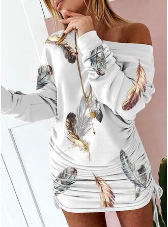 印刷 長袖 ドロップショルダー ボディコンドレス 膝上 カジュアル ドレス