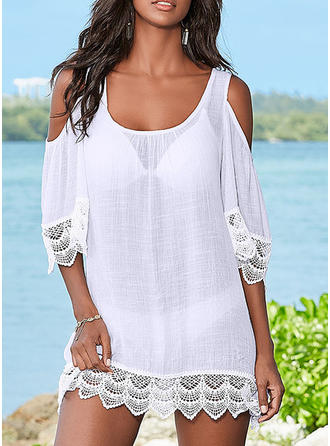 Solid Color U Neck Sexy Cover-ups Swimsuits