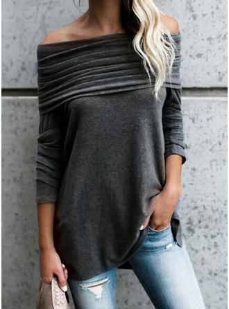Solide Off the Shoulder Lange Mouwen Casual Breiwerk Blouses