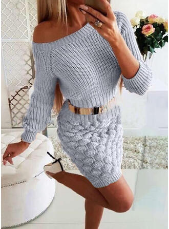 Solid Lange ærmer Bodycon Over knæet Casual/Elegant Sweater Kjoler