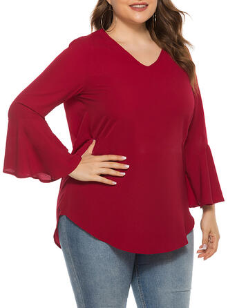 Solid V-Neck Flare Sleeve Long Sleeves Casual Elegant Plus Size Blouses