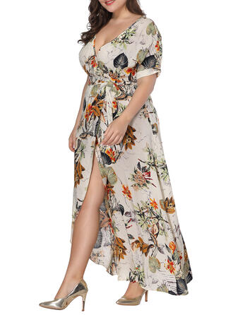 Print/Floral Short Sleeves A-line Asymmetrical Casual/Vacation/Plus Size Dresses