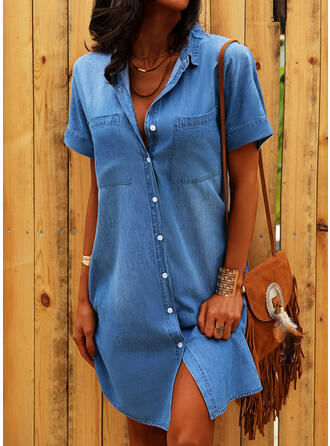 Solid Short Sleeves Shift Above Knee Casual/Denim Shirt Dresses