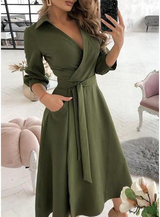 Jednolita Długie rękawy W kształcie litery A Okrycie/Łyżwiaż Elegancki Midi Sukienki