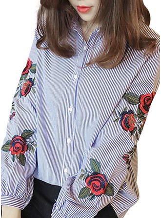 Polyester Lapel Embroidery Long Sleeves Shirt Blouses