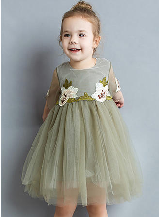 Girls Round Neck Floral Embroidery Cute Dress