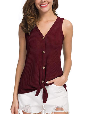 Solid V Neck Sleeveless Button Up Casual Elegant Blouses