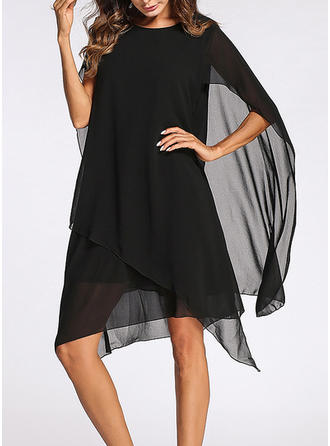 Solid Split Sleeve Shift Above Knee Little Black/Casual/Elegant Dresses