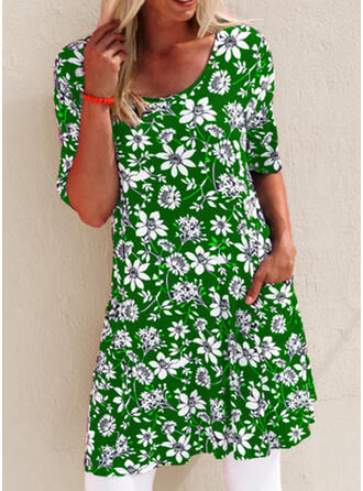 Print/Floral 1/2 Sleeves Shift Above Knee Casual/Vacation Dresses