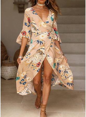 Print/Floral Flare Sleeves A-line Asymmetrical Casual/Boho/Vacation Dresses