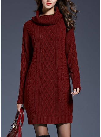 Solid Cowl Neck Knee Length Shift Dress