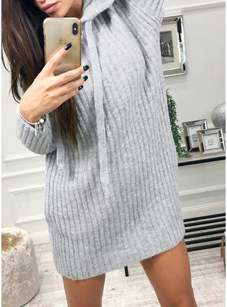 Solid Hooded Sweater Dress
