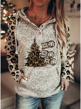 Leopard Sequins Figure Long Sleeves Christmas Sweatshirt