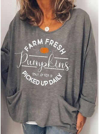 Halloween Print Letter Round Neck Long Sleeves Casual Blouses