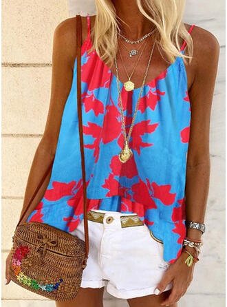 Print Color Block Spaghetti Strap Sleeveless Casual Tank Tops