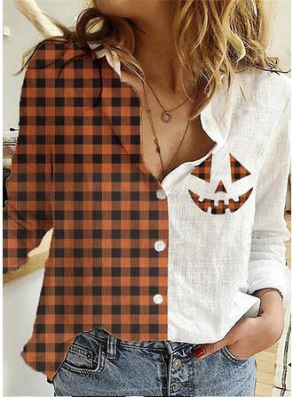 Stampa Risvolto Maniche lunghe Bottone Casuale Halloween Shirt and Blouses