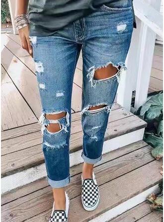 Pockets Shirred Long Casual Denim & Jeans