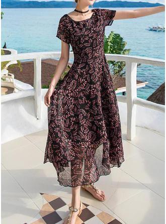 Print Bohemian Round Neck Midi A-line Dress