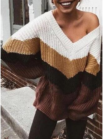 Blok Kolorów Prążkowana dzianina Masywna dzianina Na jedno ramię Swetry