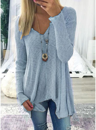 Solid V-Neck Long Sleeves Knit T-shirts