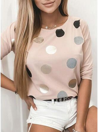 PolkaDot Round Neck Long Sleeves Casual T-shirts