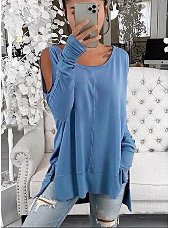 Μονόχρωμο Ανοιχτός Ώμος Μακρυμάνικο Καθημερινό Блузи