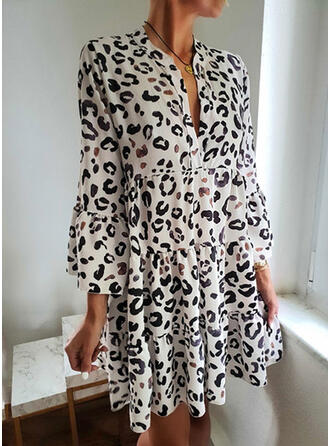 Leopard Long Sleeves Shift Above Knee Casual Dresses