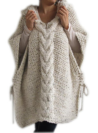 Plain Cable-knit Chunky knit Hooded Sweater Dress