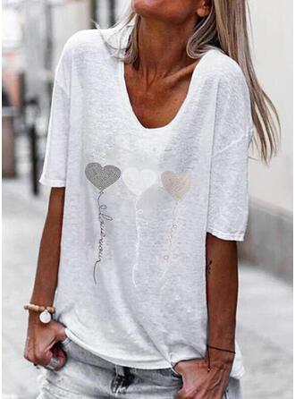 Hart Print Letter V-hals 1/2 Mouwen T-shirts