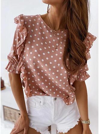 PolkaDot Round Neck Puff Sleeves Short Sleeves Casual Elegant Blouses
