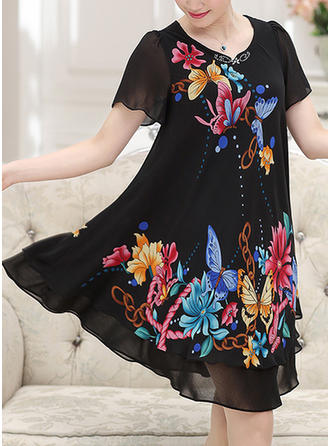 Print/Floral Short Sleeves Shift Knee Length Casual/Elegant Dresses