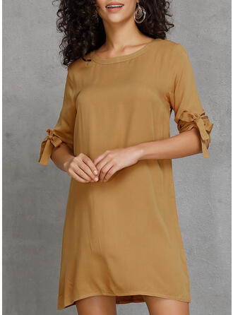 Solid 1/2 Sleeves Shift Above Knee Casual Tunic Dresses (199262236)
