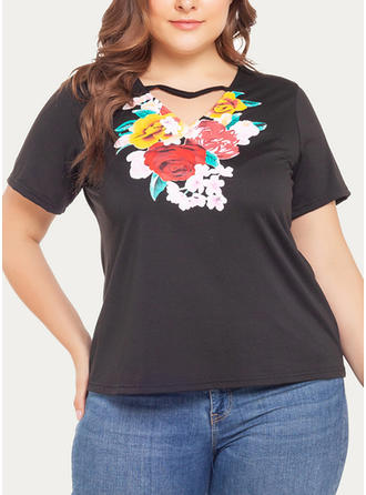 Floral V Neck Short Sleeves Casual Blouses