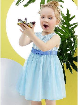 Girls Round Neck Solid Lace Bow Casual Cute Dress