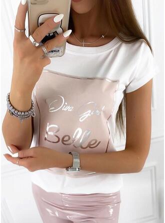 Figura Nadruk Okrągły dekolt Krótkie rękawy T-shirty