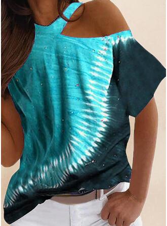 Druck Eine-Schulter Kurze Ärmel T-Shirts