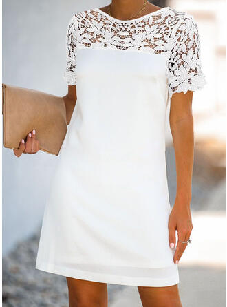 Lace/Patchwork Short Sleeves Shift Above Knee Casual/Elegant Dresses