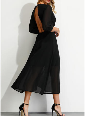 Solid 3/4 Sleeves A-line Sexy/Party/Elegant Midi Dresses