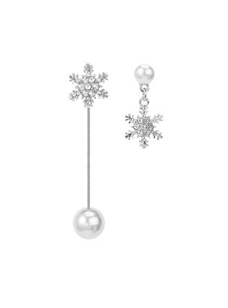 Snowflake Alloy Rhinestones Imitation Pearls Women's Earrings 2 PCS