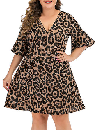 Print/Leopard 1/2 Sleeves/Flare Sleeves A-line Above Knee Casual/Plus Size Dresses