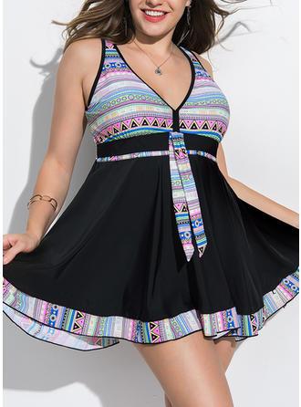 Colorful V-neck Elegant Plus Size Swimsuits