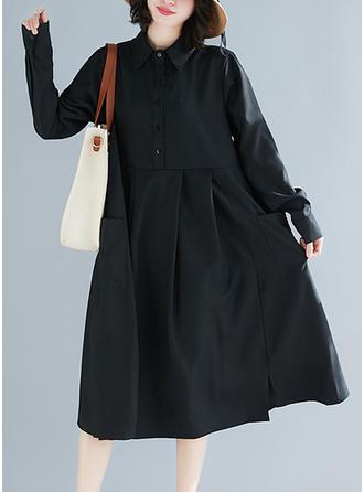 Jednolita Długie rękawy Koktajlowa Midi Mała czarna/Casual Sukienki