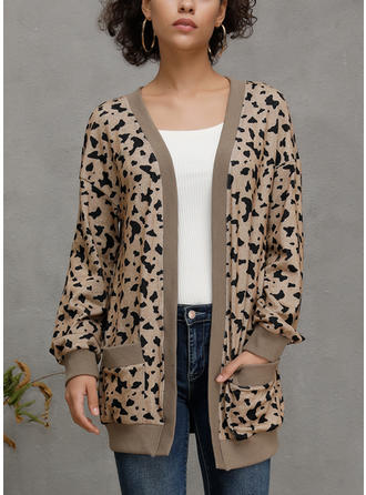Long Sleeves Animal Print Cardigans