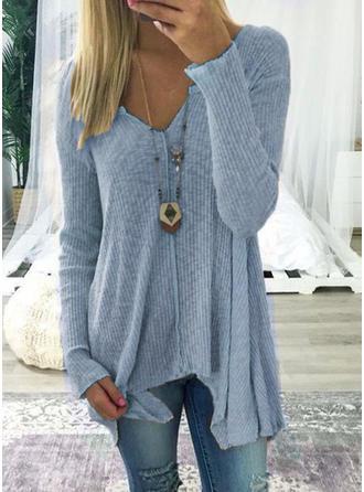 Mieszanki bawełniane Litera V Jednolity kolor Długie rękawy Koszula Bluzki