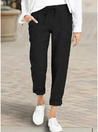 Bolsillos Fruncido Talla extra Casual Elegante Largo Pantalones
